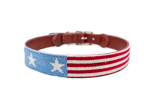 Stars and Stripes Needlepoint Dog Collar by Asher Riley