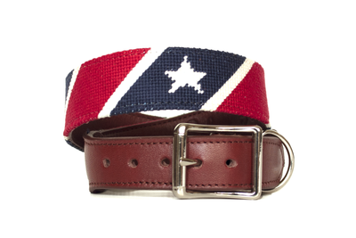 Red, White, and Blue Needlepoint Dog Collar by Asher Riley