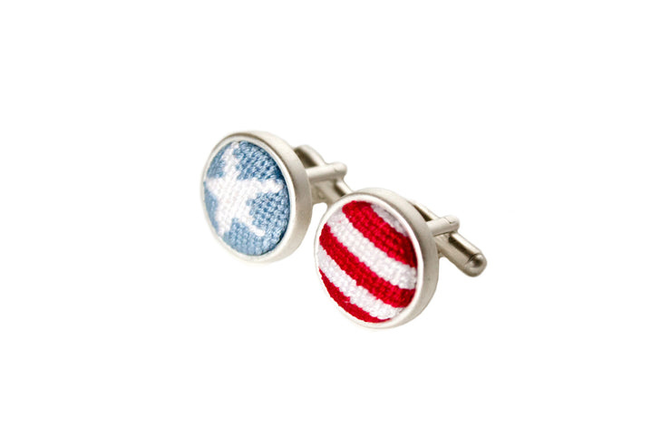 Asher Riley stars and stripes needlepoint cufflinks