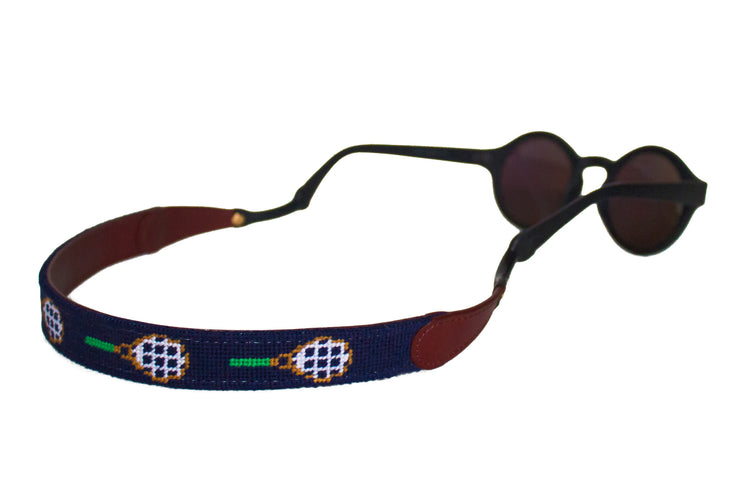 Asher Riley tennis racket needlepoint sunglass straps