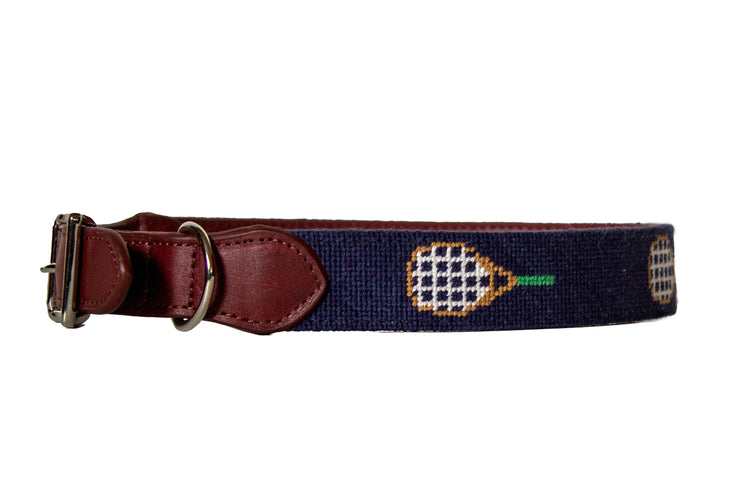 Tennis Needlepoint Dog Collar by Asher Riley