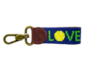 Tennis Love Needlepoint Key Fob by Asher Riley