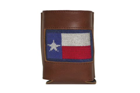 Texas Flag needlepoint can cooler leather koozie
