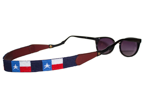 Texas flag needlepoint sunglass straps by Asher Riley