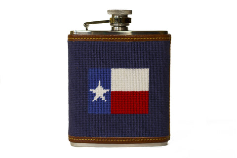 Asher Riley needlepoint Texas Flag Flask