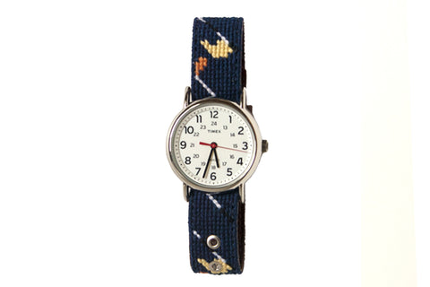 Asher Riley golf classic needlepoint watch strap and Timex Watch face