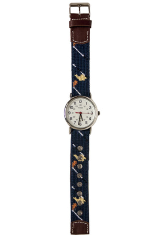Golf Classic Needlepoint Watch Strap and Timex Watch Face