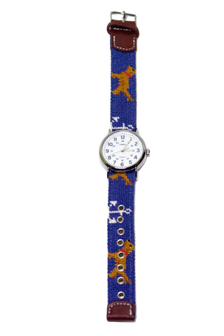 ANCHOR GOLDEN RETRIEVER NEEDLEPOINT WATCH STRAP AND TIMEX FACE