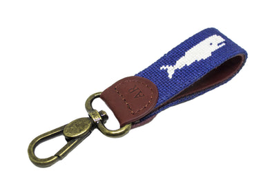Whale Needlepoint Key Fob by Asher Riley