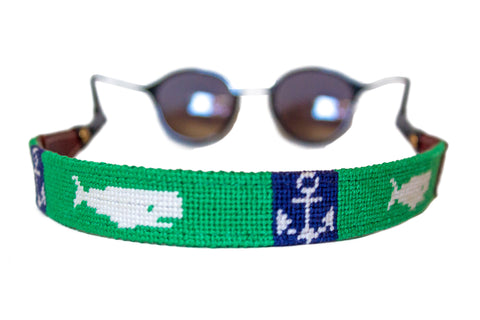 Whale and Anchor Needlepoint sunglass straps by Asher Riley