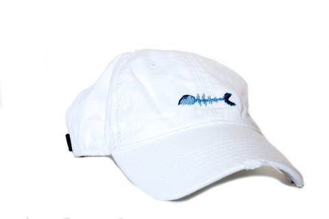 Bone Fish on white needlepoint hat Asher Riley