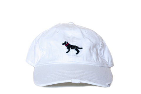 Black Lab on White Needlepoint Hat