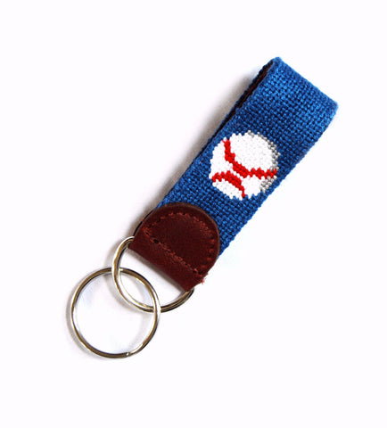 Asher Riley Needlepoint Baseball Key Fob