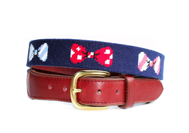 Asher Riley Bow Tie Needlepoint Belt