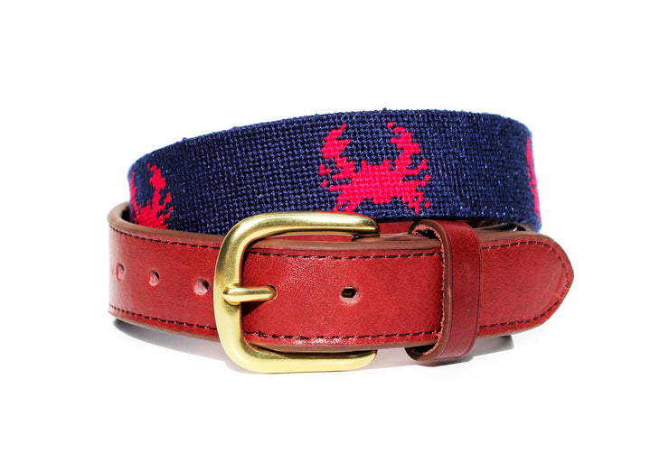 Asher Riley Crab Needlepoint Belt