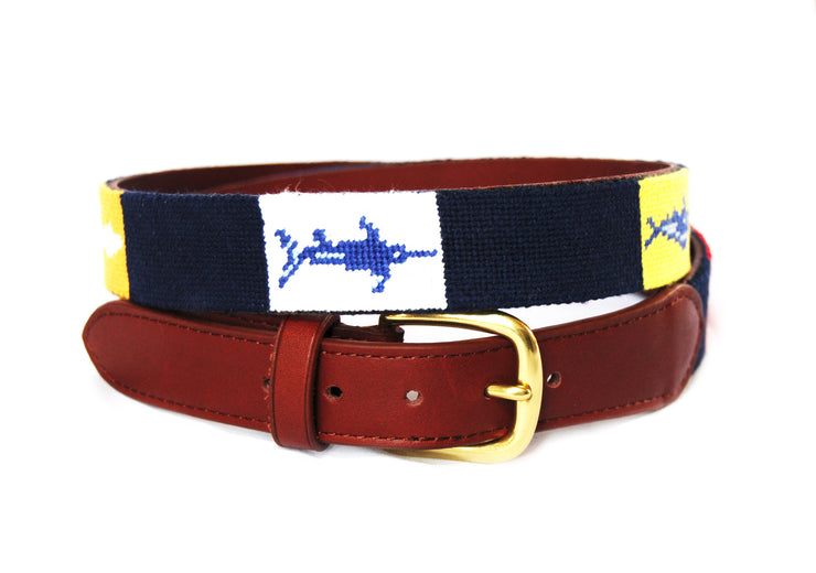 Asher Riley Flag Fish Needlepoint Belt