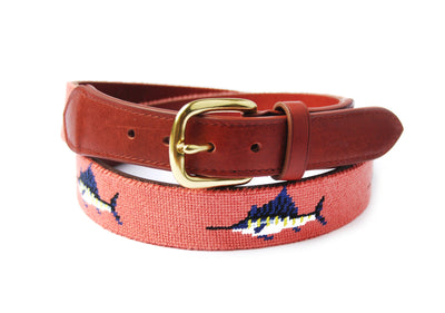 Asher Riley Sword Fish Needlepoint Belt