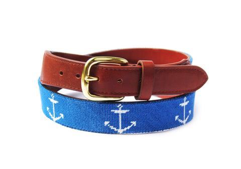 Asher Riley Anchor Needlepoint Belt
