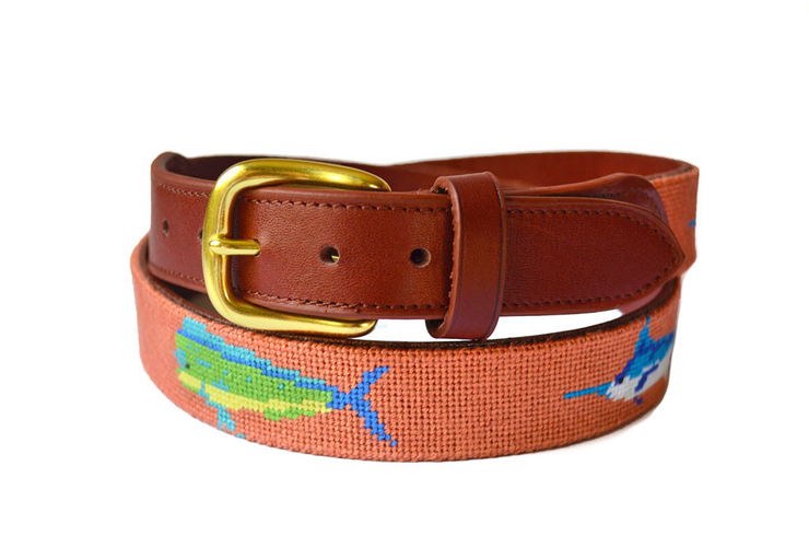 Asher Riley Bill Fish Needlepoint Belt