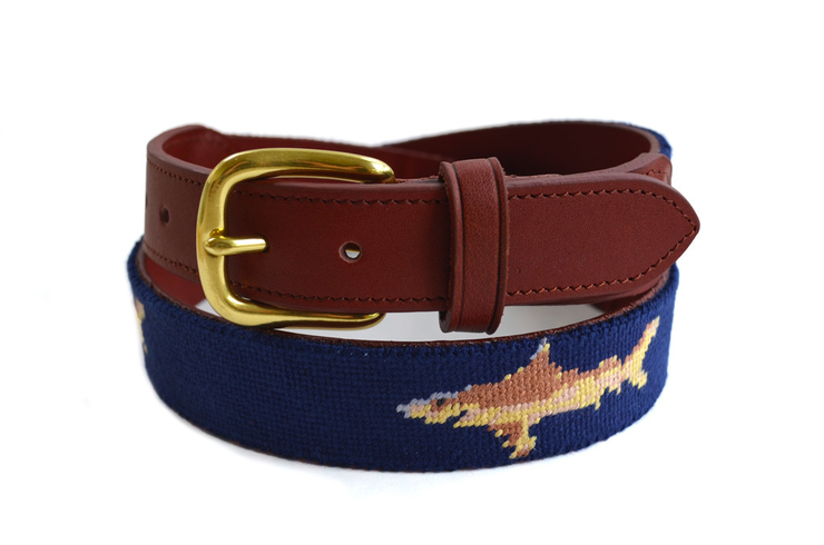 Asher Riley Shark Needlepoint Belt