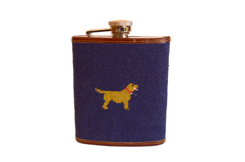 Asher Riley Dog Needlepoint Flask