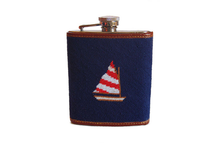 Asher Riley Sailboat Needlepoint Flask