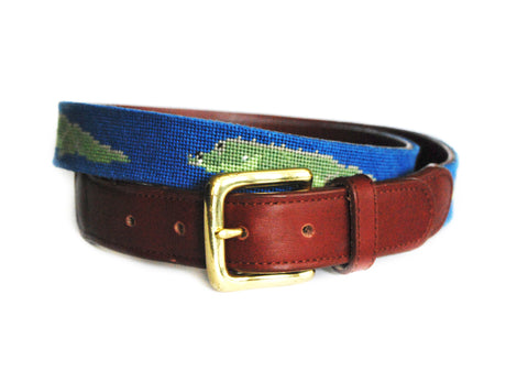 Asher Riley Gator Needlepoint Belt