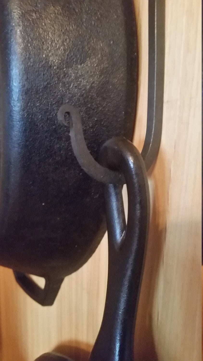 Forged long hook, over cabinet
