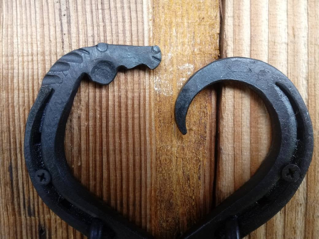 Horseshoe heart horse head double hook, hand forged