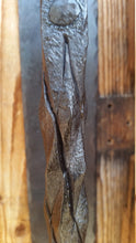 Load image into Gallery viewer, Hand forged railroad spike door handle with pineapple twist