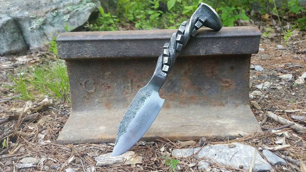 Railroad spike knife, cube twist