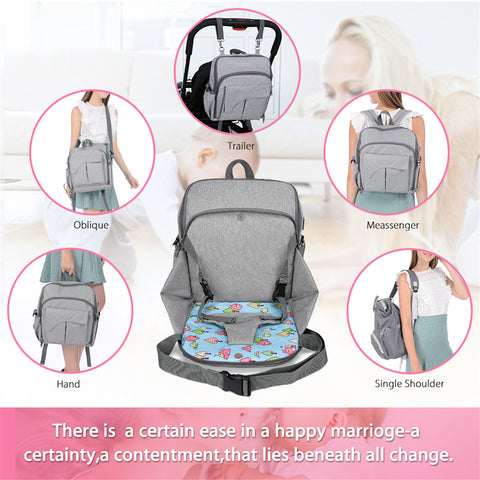 62e4d85df2 Multi Function Diaper Bag With Changing Pad Safety Straps Seat ...