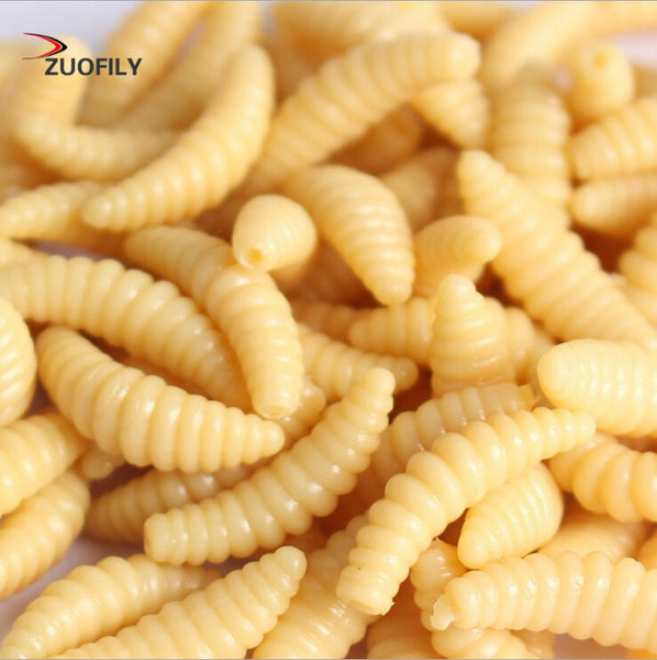 Promotion 50PCS 2cm 0.3g maggot Grub Soft Fishing Lure hooks  smell Worms Glow Shrimps Fish Lures