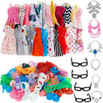 30 Item/Set Doll Accessories = 10x Mix Fashion Cute Dress + 4x Glasses+ 6x Necklaces +  10x Shoes  Dress Clothes For Barbie Doll-Gift For Children In UK