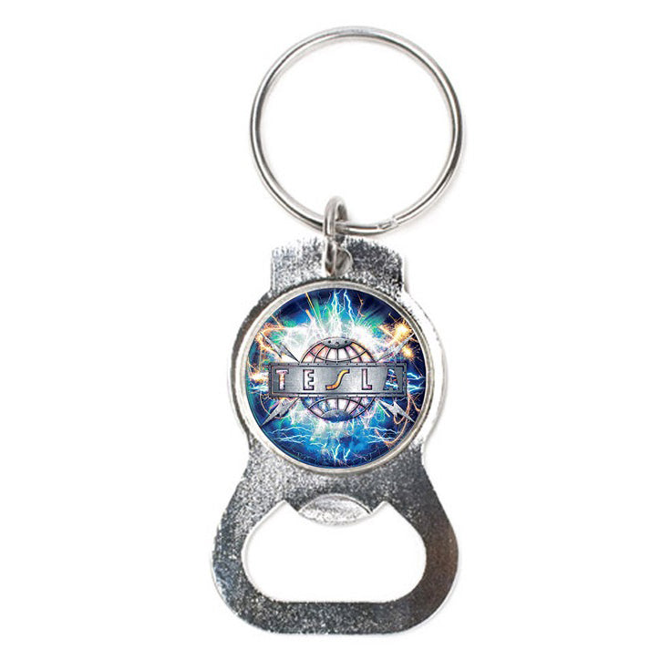 Tesla bottle opener metal keychain