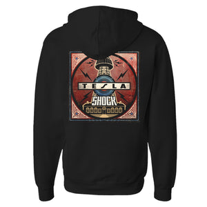 Shock Album Cover Zip Hoodie-Tesla Band