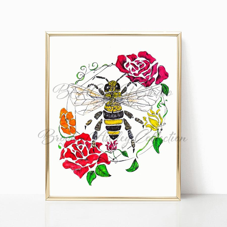 """Honey Bee"" Art Print (Color)"