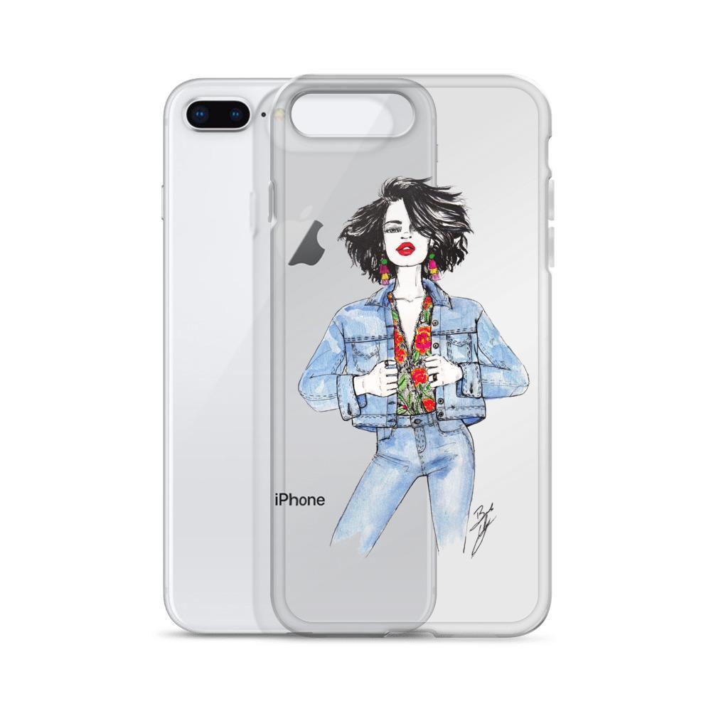 "brooke-ashley-collection-bac-art-studio - ""Floral & Denim"" Clear iPhone Case -  - Brooke Ashley Collection BAC Art Studio"