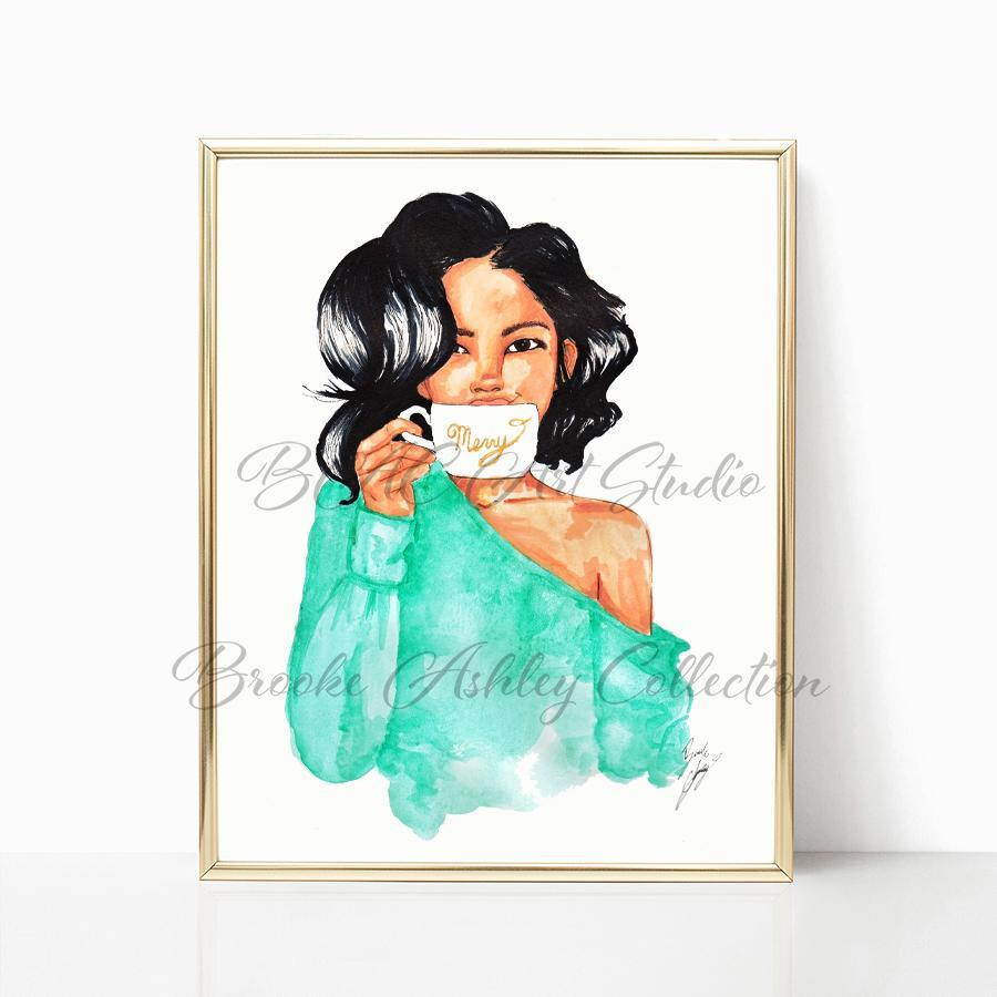 "brooke-ashley-collection-bac-art-studio - ""Merry Mug"" Art Print -  - Brooke Ashley Collection BAC Art Studio"