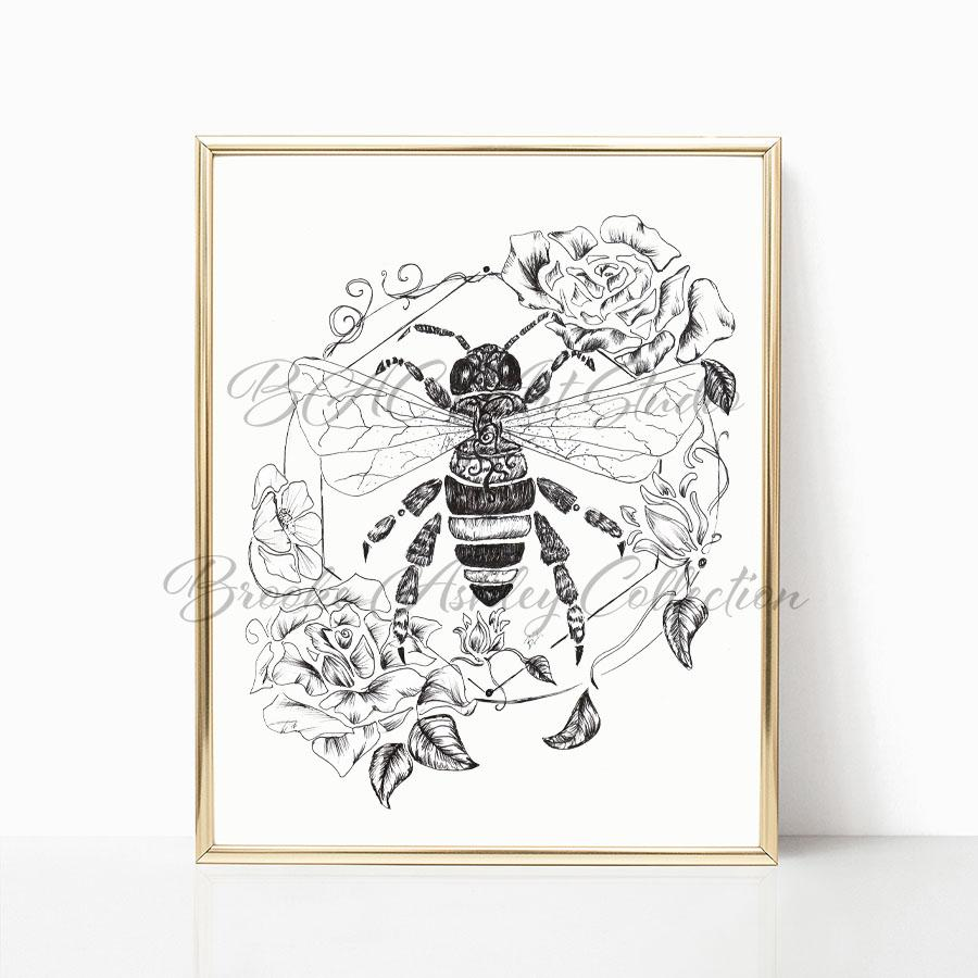 """Honey Bee"" Art Print (Black & White)"