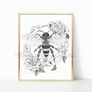"""Honey Bee"" Art Print (Black & White) - Brooke Ashley Collection"