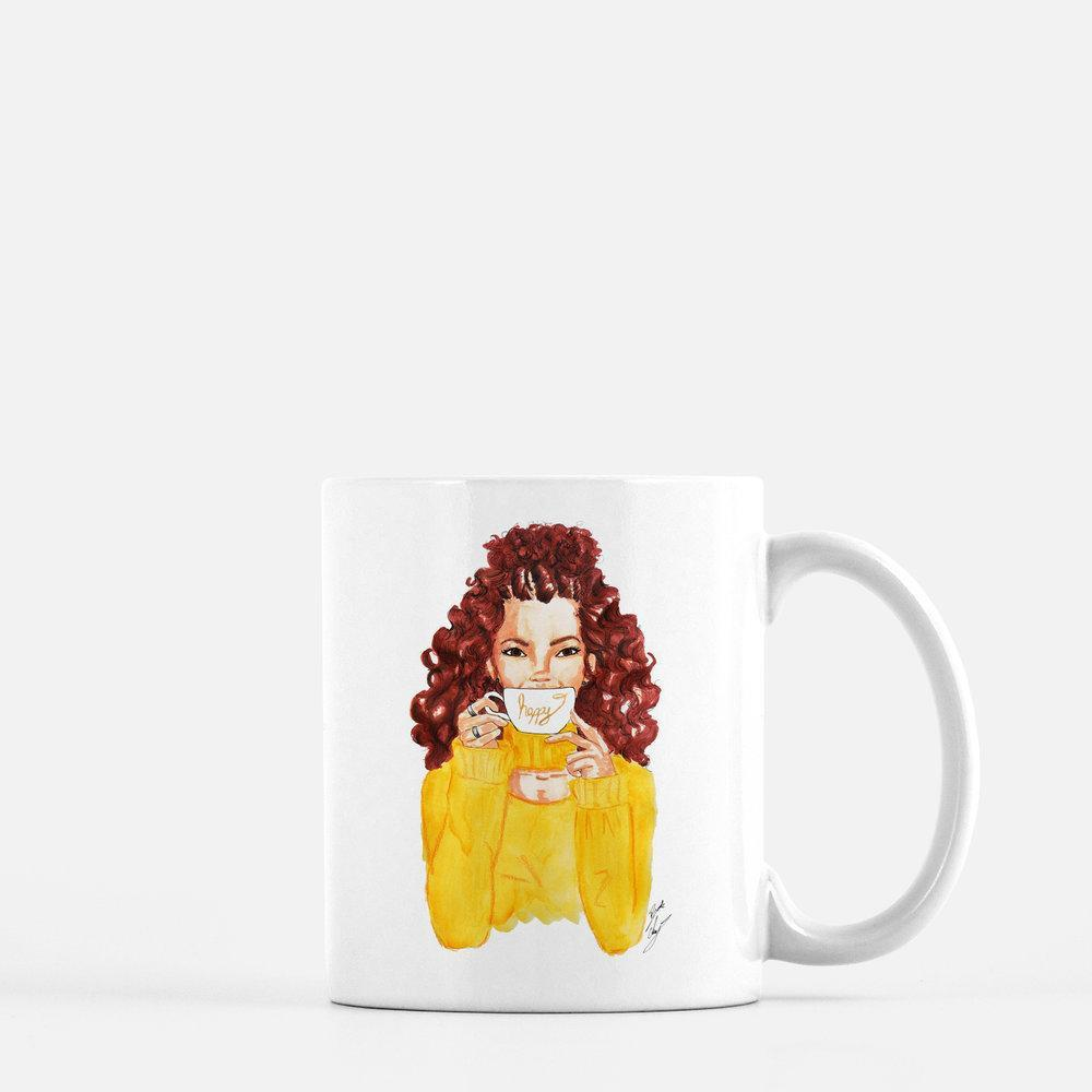 "brooke-ashley-collection-bac-art-studio - ""Happy"" Coffee Mug -  - Brooke Ashley Collection BAC Art Studio"