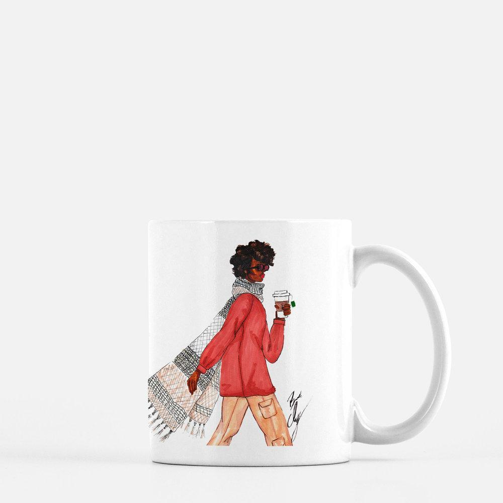 "brooke-ashley-collection-bac-art-studio - ""Scarf & Latte"" Coffee Mug -  - Brooke Ashley Collection BAC Art Studio"
