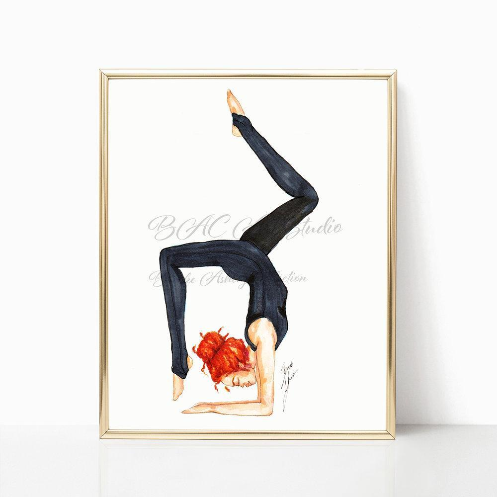 "brooke-ashley-collection-bac-art-studio - ""Scorpion Pose"" Art Print -  - Brooke Ashley Collection BAC Art Studio Yoga illustration- yoga fashion wall art decor- gift for yoga lovers"