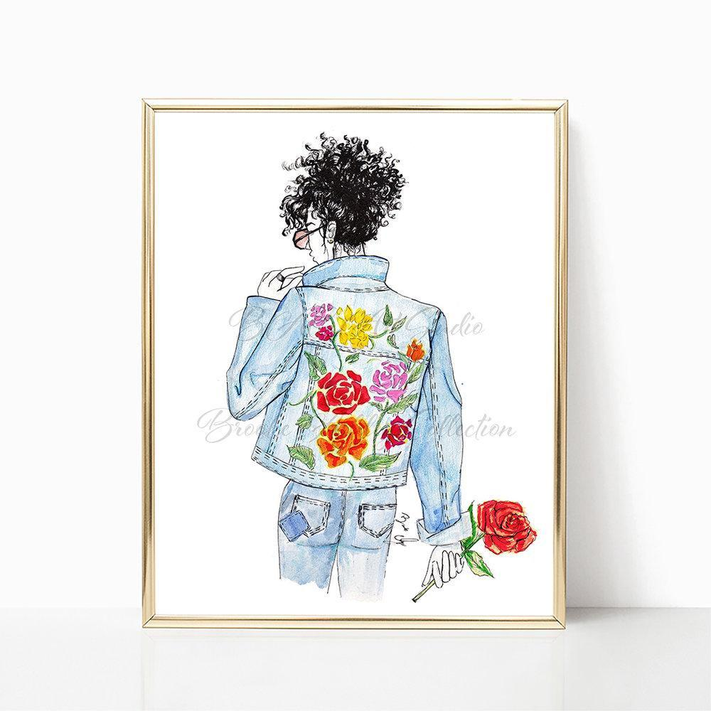 "brooke-ashley-collection-bac-art-studio - ""Floral and Denim #2"" Art Print -  - Brooke Ashley Collection BAC Art Studio"