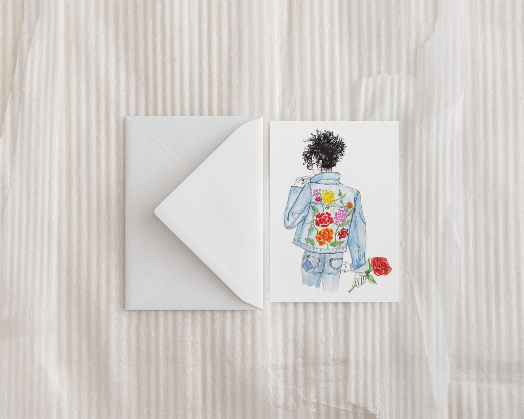"""Floral and Denim #2"" Greeting Card - Brooke Ashley Collection"