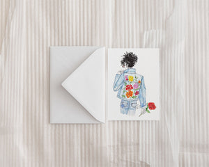 """Floral and Denim #2"" Greeting Card"
