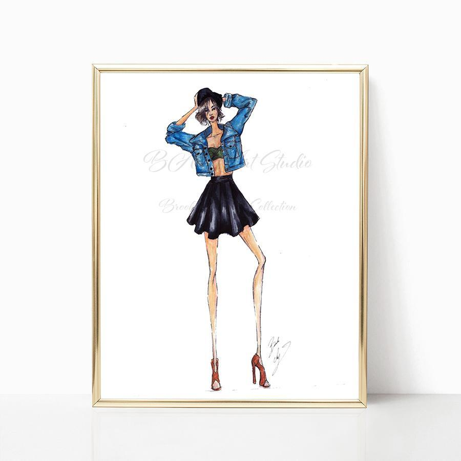 "brooke-ashley-collection-bac-art-studio - ""Jean Jacket"" Art Print -  - Brooke Ashley Collection BAC Art Studio"