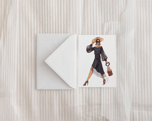 """Lady in Black"" Greeting Card"