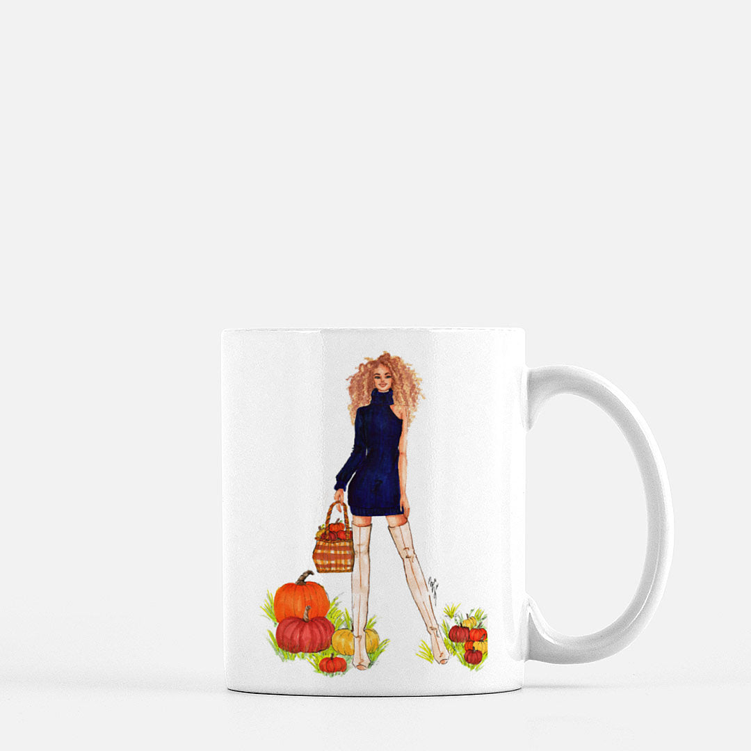 "brooke-ashley-collection-bac-art-studio - ""Pumpkin Patch"" Coffee Mug -  - Brooke Ashley Collection BAC Art Studio Microwave and dishwasher safe- fall coffee mug- fashion illustration ceramic coffee mug"